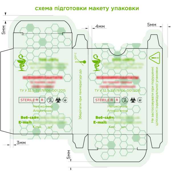 схема підготовки макету упаковки